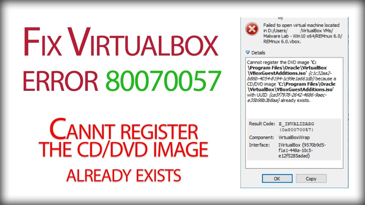 VirtualBox Error - Cannot register the DVD image