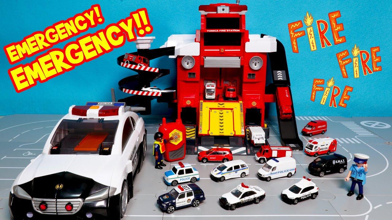 토미카 변형 파이어 스테이션 l 변신 빅 폴리스 스테이션 토미카 자동차 장난감 놀이 Tomica Transform Fire Station car toys play