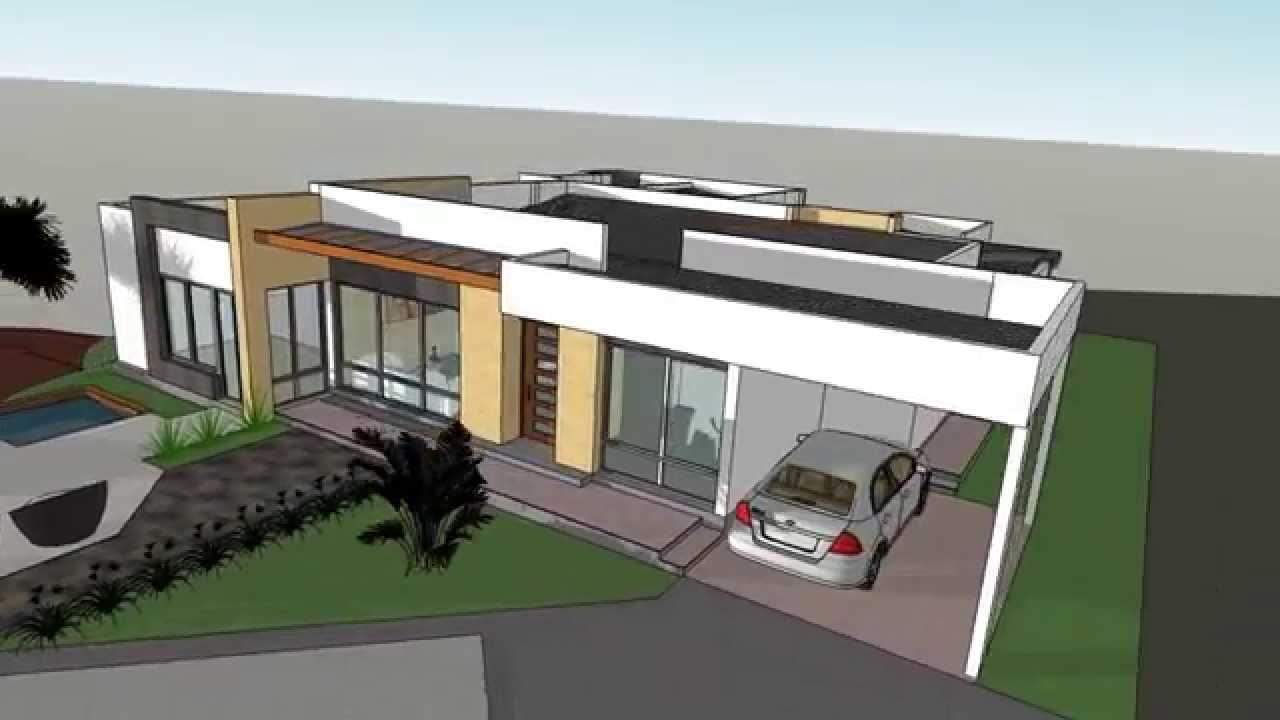 Planos casa campestre de 250 m2 sketchup youtube for Planos de casas 200m2