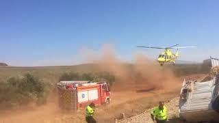 В Испании поезд столкнулся с грузовиком. Эвакуация пострадавших на вертолете.