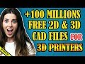 How to download for free more than 100 millions 2d and 3d cad files for 3d printers and cnc machines