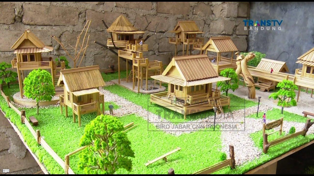 Kreasi Unik Miniatur Rumah Dari Bambu Youtube