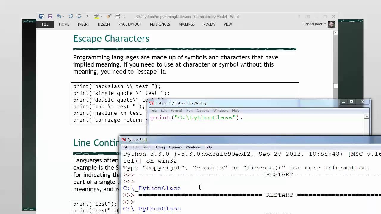 Python Mod02 06 Escape Characters Youtube