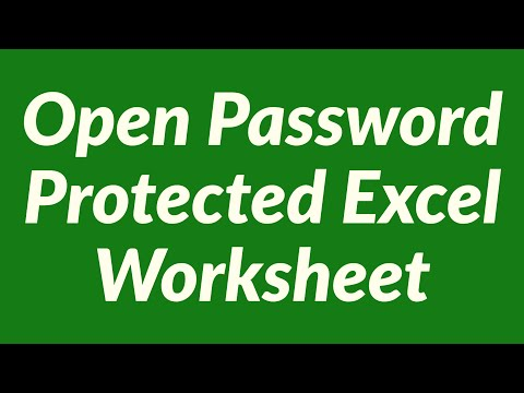 open password protected excel worksheet lost password youtube