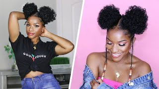 EASY Natural Hair & Makeup Tutorial for School ✨ Double Afro Puff Buns