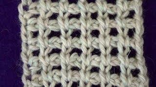 Тунисское вязание. Сетка с воздушными петлями