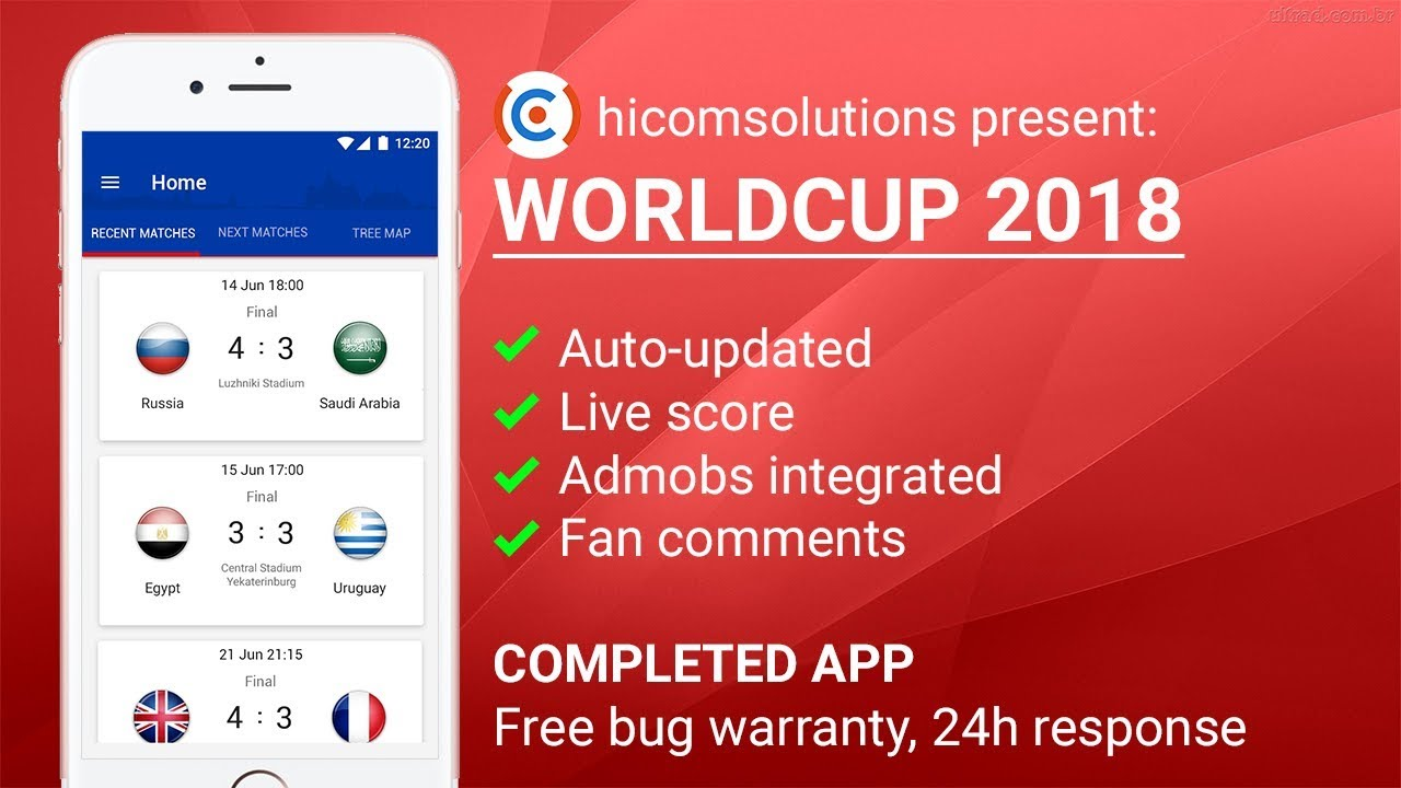 world cup russia 2018 ios app template script source code for sale