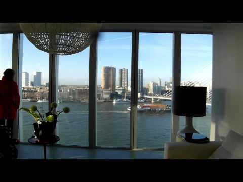 """kijkje in woning in het grootste gebouw""""De Rotterdam"""" wonen op grote hoogte met groots uitzicht"""