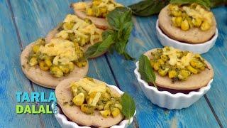 Corn And Pesto Mini Pizza By Tarla Dalal