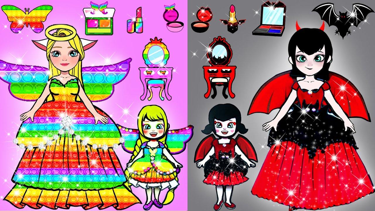 Paper Dolls Dress Up - Vampire Mavis vs Fairy Rapunzel New House Paper Crafts - WOA Doll Channel
