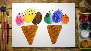 Как нарисовать МОРОЖЕНОЕ красками | Простые рисунки красками | Урок рисования для детей