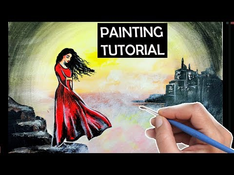 Lady in Red Painting Tutorial. How to Paint Misty Landscape Woman & Clouds