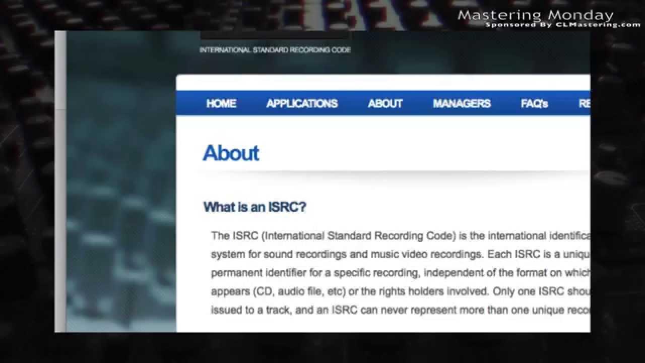 ISRC Codes - Mastering Monday ...