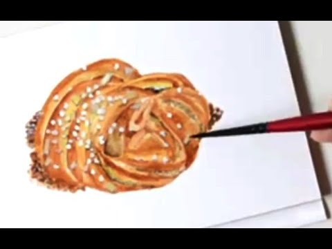 *Real-time* Watercolor Painting A Sweet Pistachio Roll (No Pre-drawing)