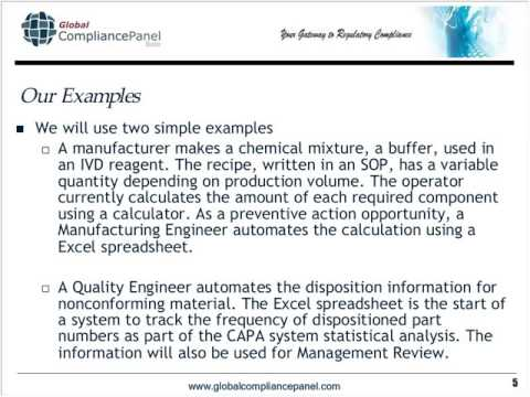 Understand the FDA device regulations related to Excel spreadsheets