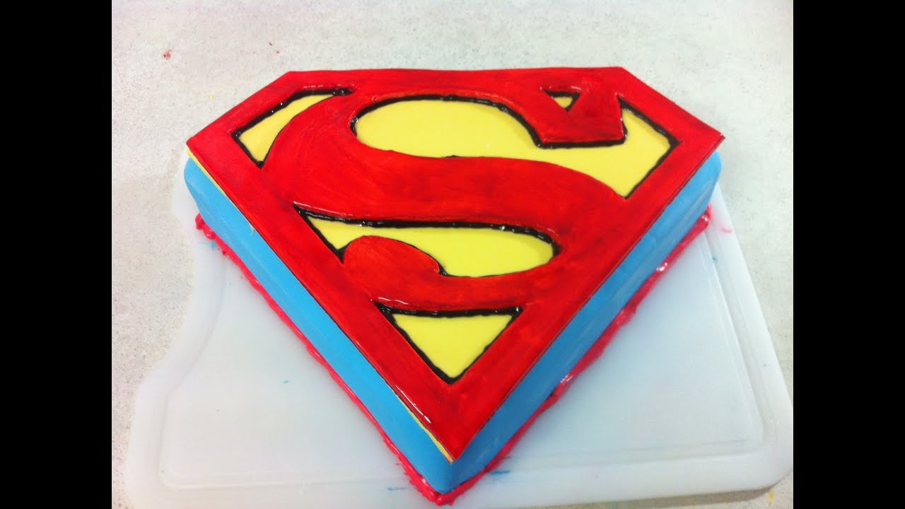 Superman man of steel cake how to youtube for Superman template for cake