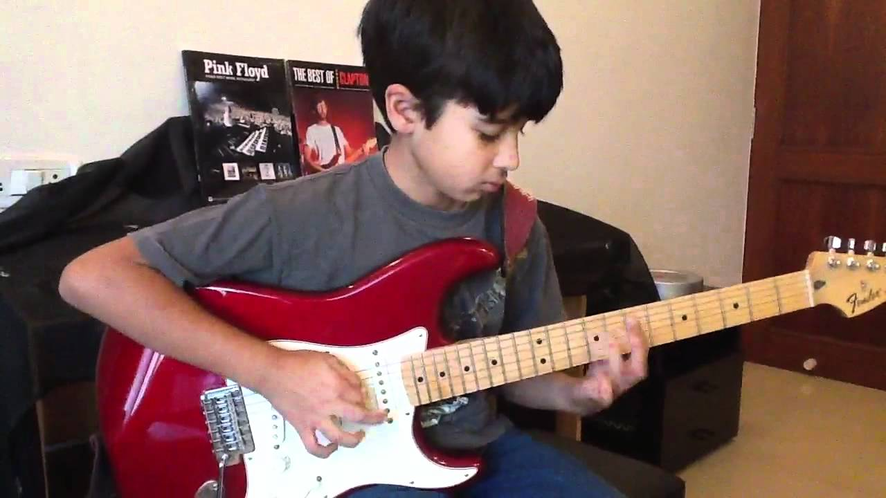 Download Eleven year old playing Pink Floyd Comfortably Numb solo