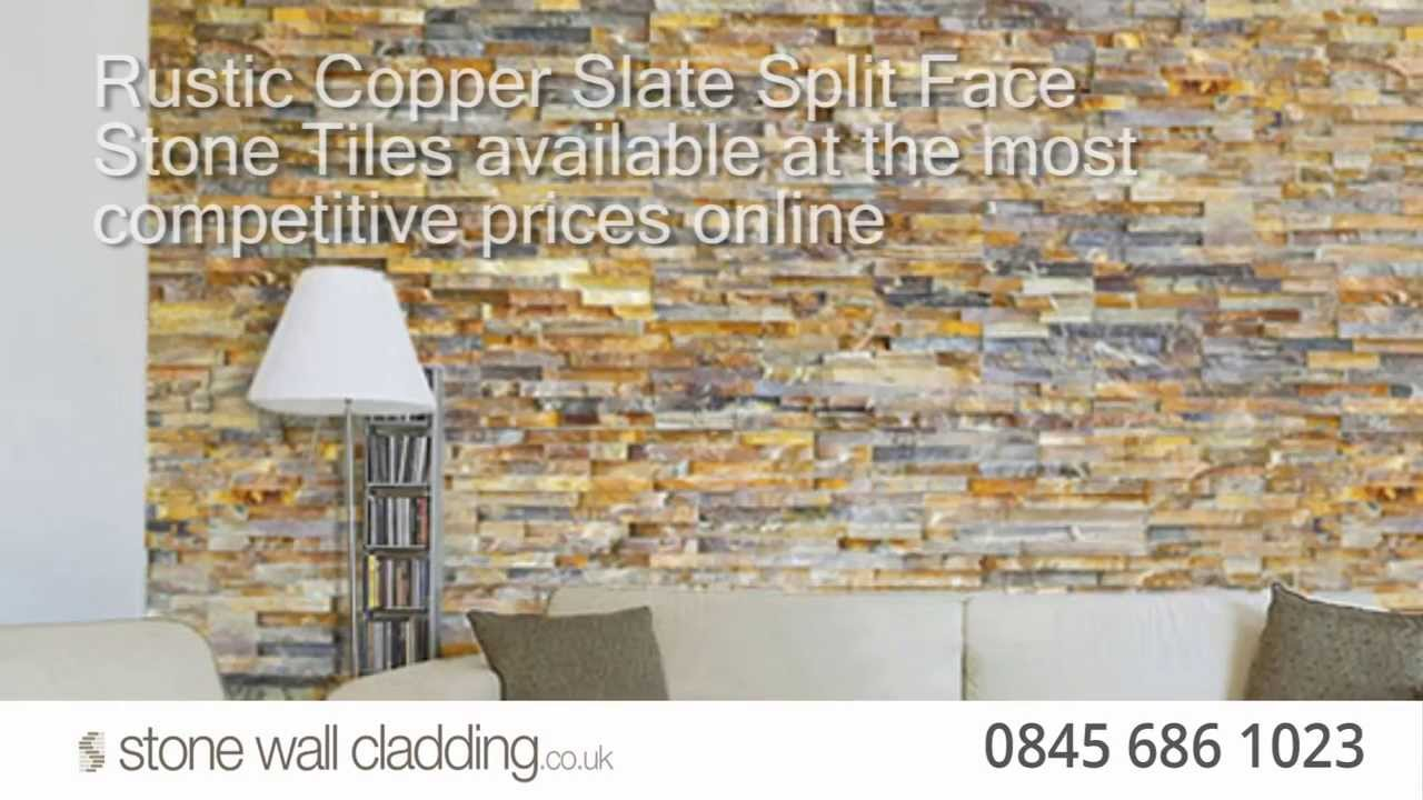 Rustic Copper Slate Stone Wall Cladding Ochre Split Face Natural Tiles