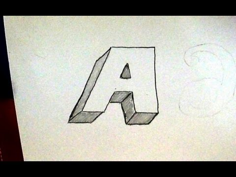 How to write letter a in 3d easy 3d sketch tutorial for kids youtube expocarfo Gallery