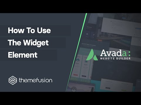 How To Use The Widget Element Video
