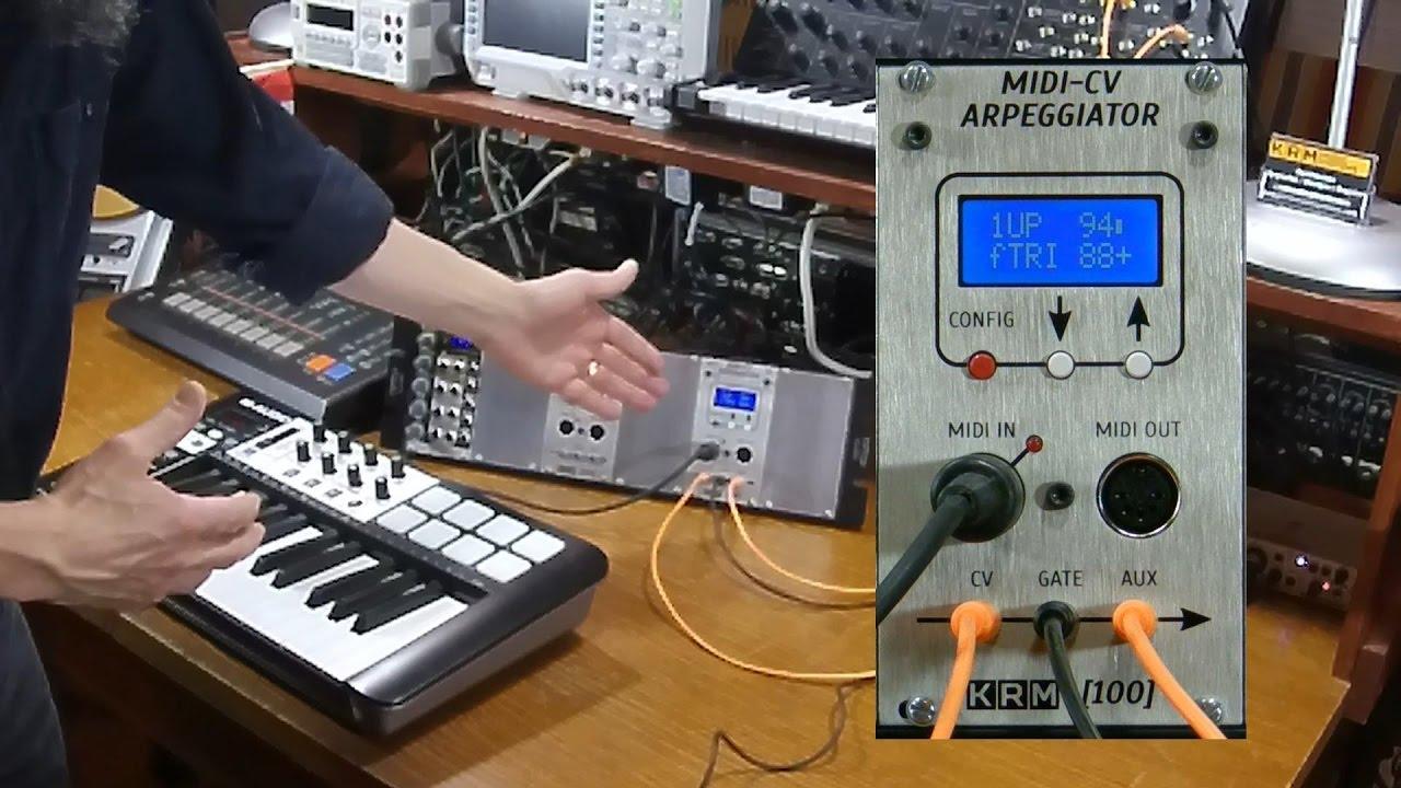krm-100  midi-cv-arpeggiator module - demo