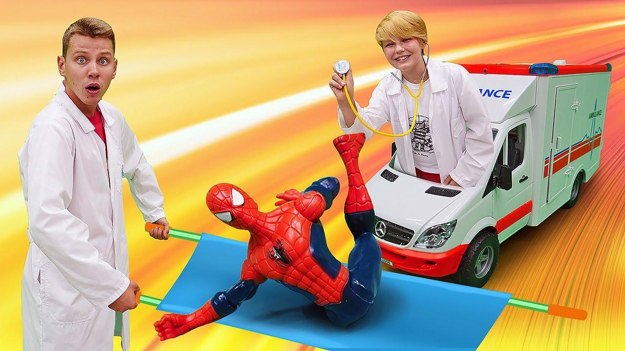 Смешное видео - Человек Паук и Супергерои заболели? – Детские игры в профессии.