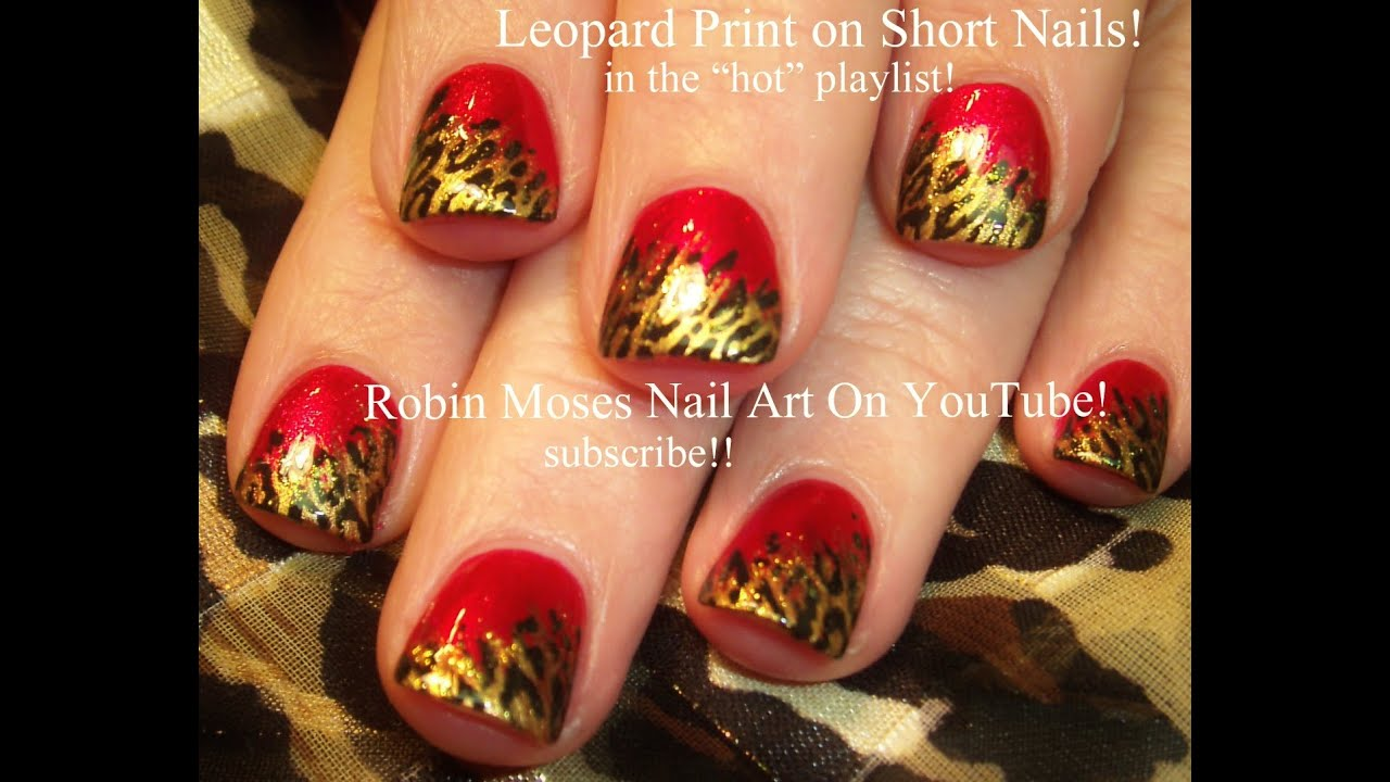 Short Nail Art Leopard Print Design Tutorial - YouTube