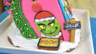 HOW TO MAKE LEANING GRINCH GINGERBREAD HOUSE BY HANIELA'S