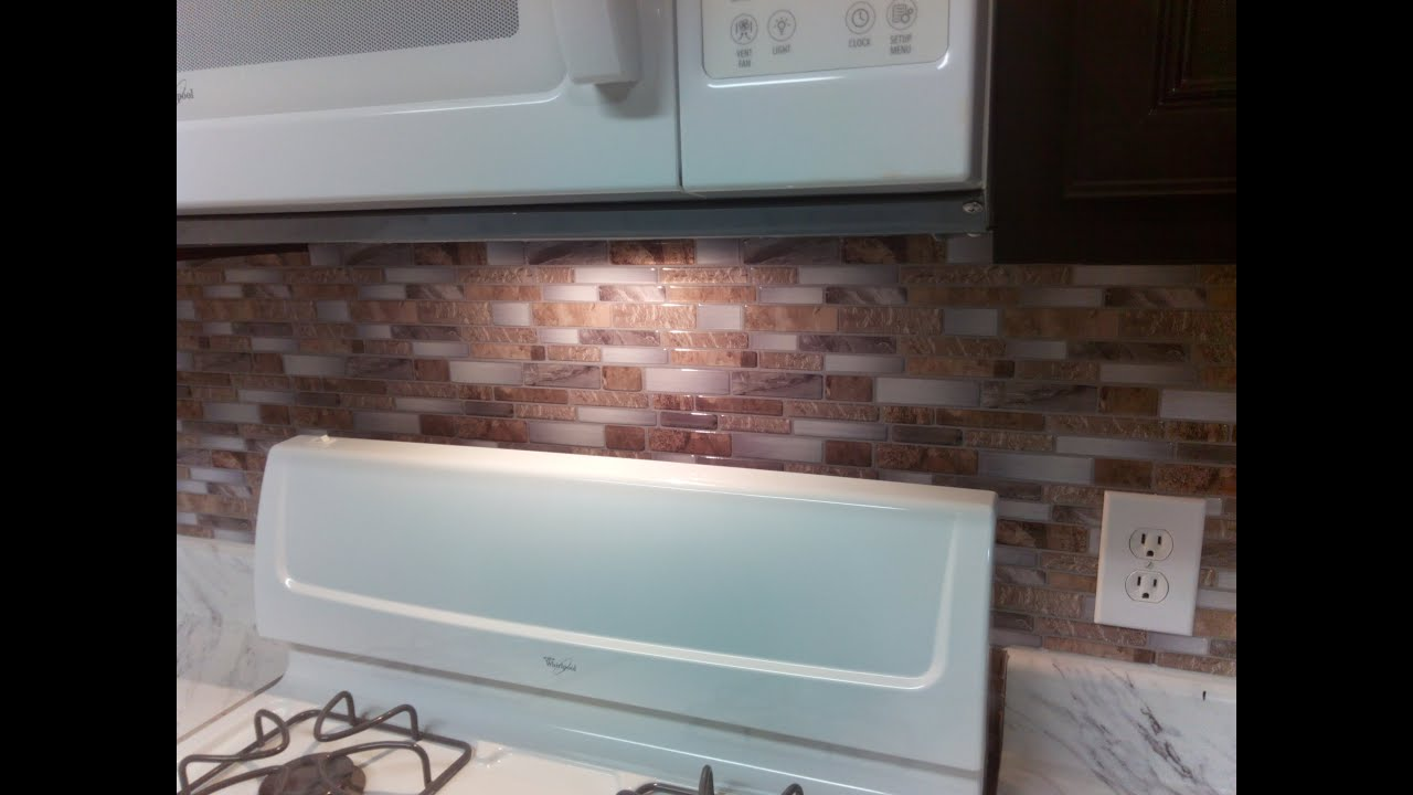 Backsplash   Peel And Stick Mosaic Wall Tile Installation   YouTube Part 40