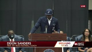 Deion Sanders speaks for first time as JSU head football coach