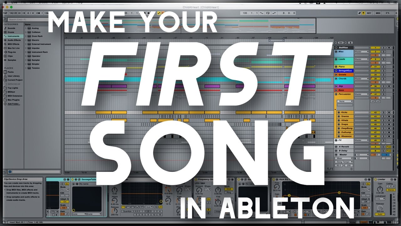 Making Your FIRST Song in Ableton (Using Default Ableton  Plugins/Instruments)