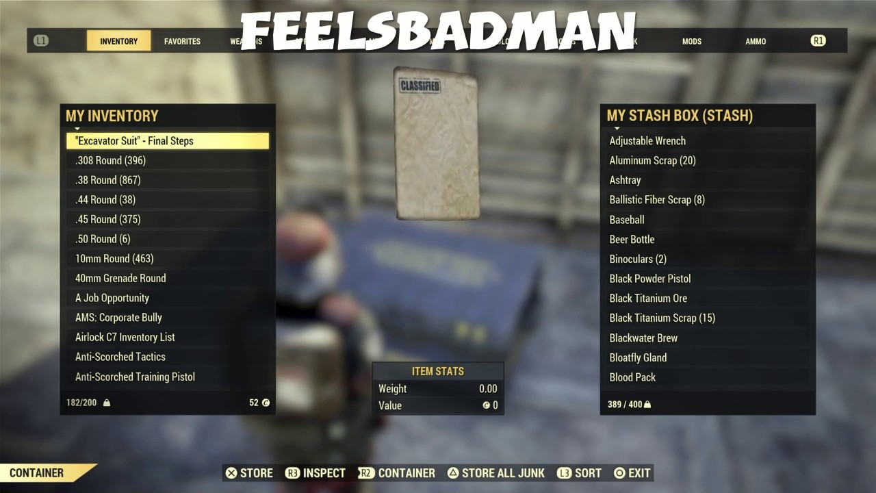 When you see stash sizes still ain't increased yet - Fallout 76 stash box