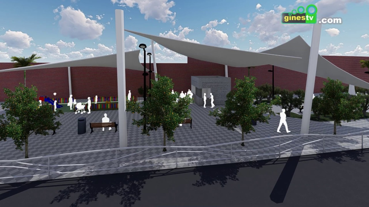 Comienza la construcción de un kiosco y zonas de sombra en el paseo Juan de Dios Soto de Gines
