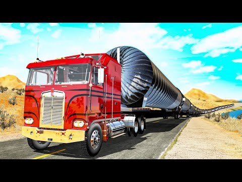 Giant Long Road Trains Crashes #4 - Beamng Drive
