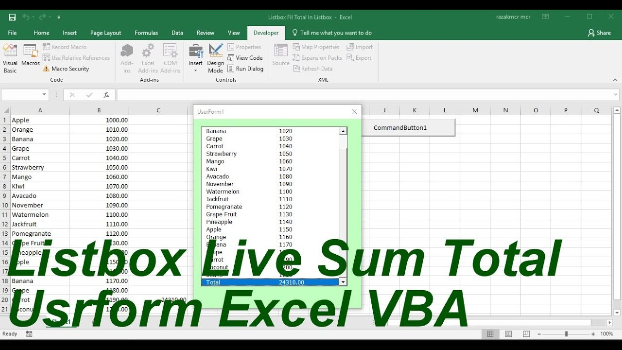 Listbox Live Sum Total Userform Excel VBA
