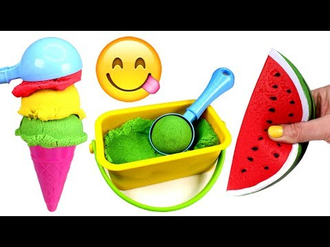 Kinetic Sand Ice Cream Making Learn Fruits with Toys Kinetic Sand Videos for Kids