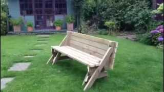 'quick-nik' Foldable Bench To Picnic Table