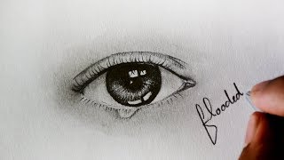 Drawing Time-lapse video | Realistic eye  and Tear drop | flooded mind