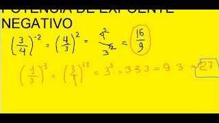 Potência de Fração com Expoente de Número Inteiro Negativo Potenciação Exponenciação Matemática Aula