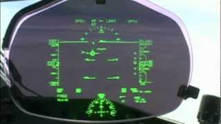 Landing seen through HUD (Head Up Display)