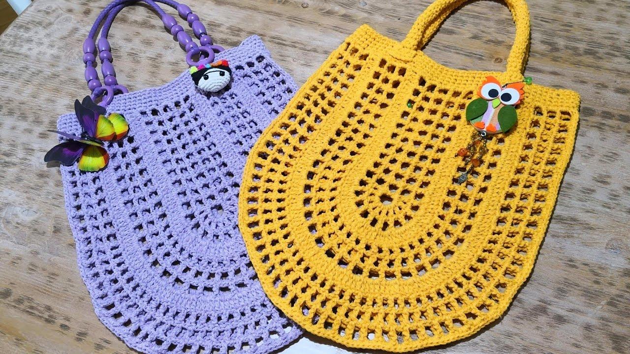 052988aec2718 Oval File Çanta Yapımı Crochet Market Bag Tutorial (Eng. Subt ...