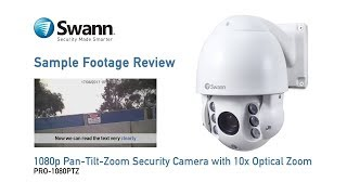Swann PRO-1080PTZ Security Camera Sample CCTV Footage Review, 10x optical zoom demo