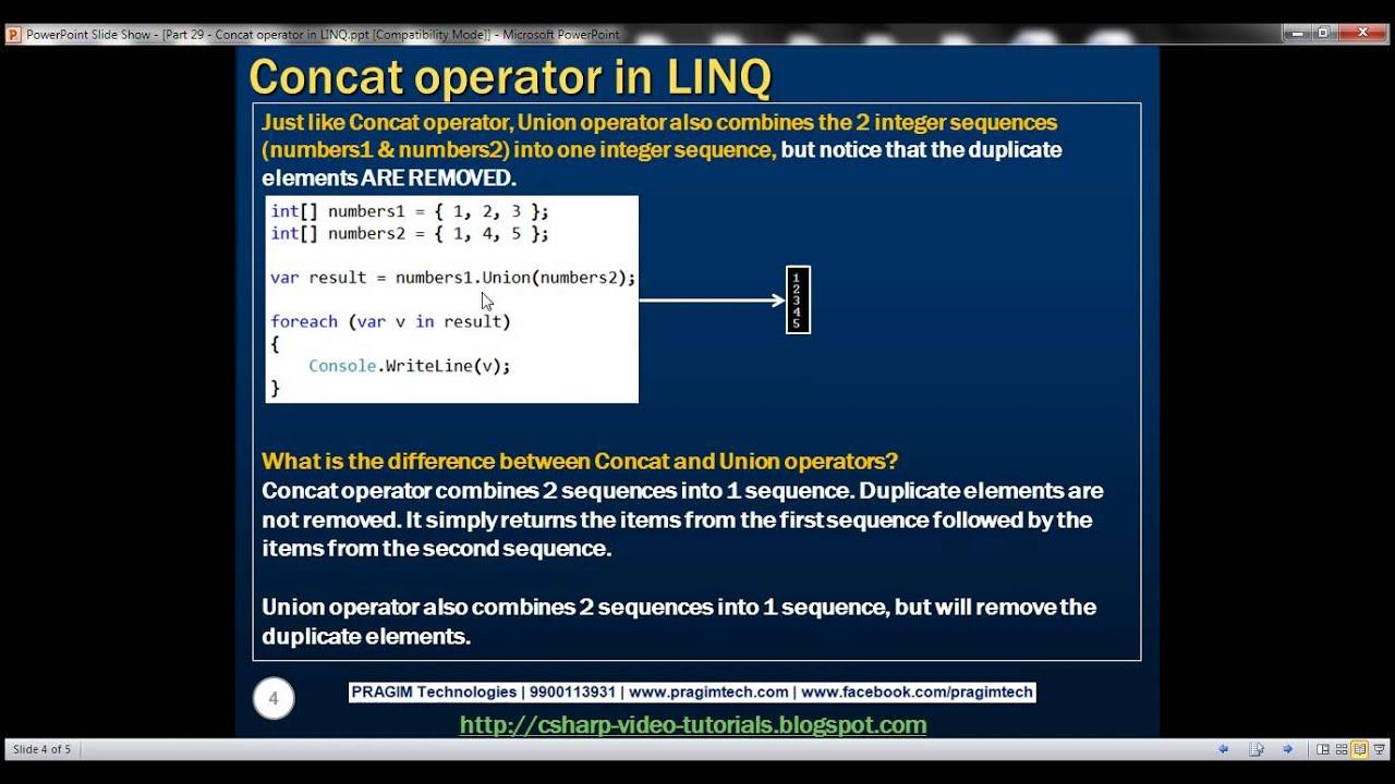 Part 29 Concat operator in LINQ - YouTube