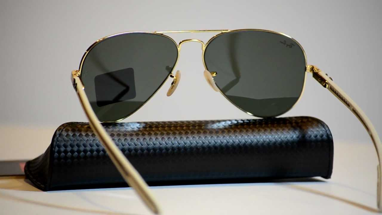 aviator ray ban i0j7  Authentic Ray Ban RB 8307 001 Aviator Carbon Fibre Collection Sunglasses  RB8307