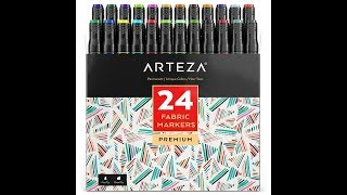 Product Review: Arteza Fabric Markers - Color Sheet and Wash Test