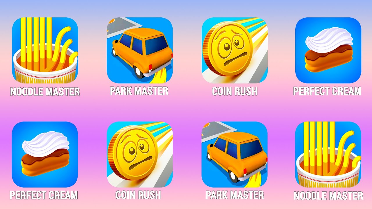 NOODLE MASTER, Park Master, Coin Rush, Perfect Cream Walkthrough (iOs, Android) | Power of Gameplay