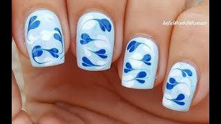 DRY MARBLE HEART NAIL ART In Blue Using Dotting Tool & Needle
