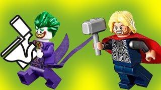 Лего мультики. Тор и украденный унитаз Мультфильмы для детей Человек паук Бэтмен Джокер  новые 2017
