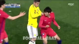 【嫌われ韓国、最低のコロンビア】ラフプレーの後、人種差別のジェスチャ―をするコロンビアの選手たちと、普段の行いからとことん荒く扱われる韓国選手