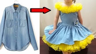 fast conversion of old jeans shirt for gorgeous baby dress